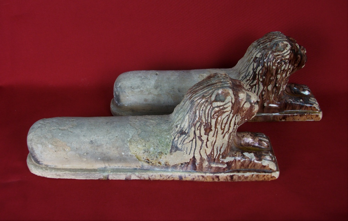 Pair of Antique Tuscany Terracotta Lions Andirons